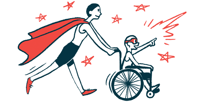 rare disease clinical trial participants | Batten Disease News | Illustration of woman in cape pushing child in wheelchair